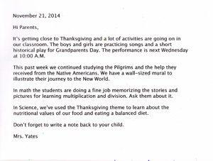 Sample of Teacher Letter
